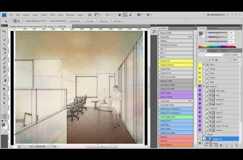 Digital Watercolor Technique Architectural Rendering