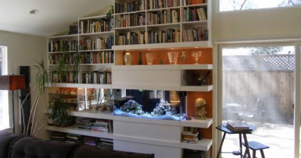 Built In Bookcase And Aquarium Aquariums Fish Tanks