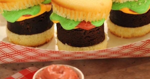 Hamburger Cupcakes With Pound Cake Fries Recipe — Dishmaps
