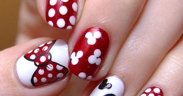 80 Classy Nail Art Designs for Short Nails Minnie Mouse Nail Design