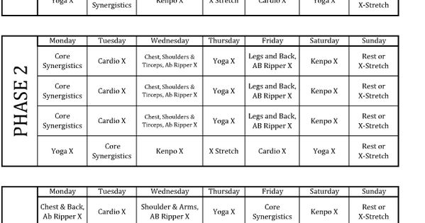 P90X lean phase work out schedule. http ...