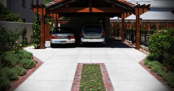Concrete Driveway With Brick And Grass Center Strip 35