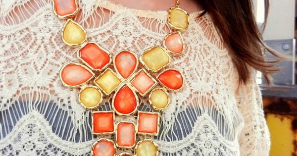 lace with chunky necklace