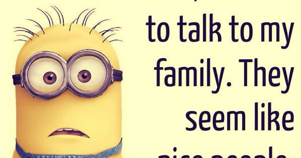 Wifi went down. Had to talk to my family. They are nice people. minion