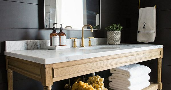 Bathroom With Reclaimed Wood Vanity White Marble