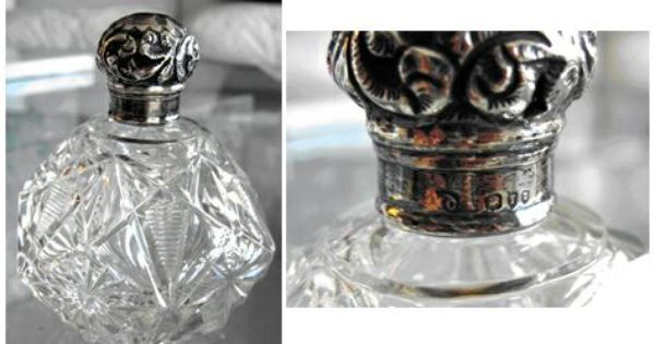 Item ac46 american antique sterling silver cut glass for How to cut the bottom of a glass bottle