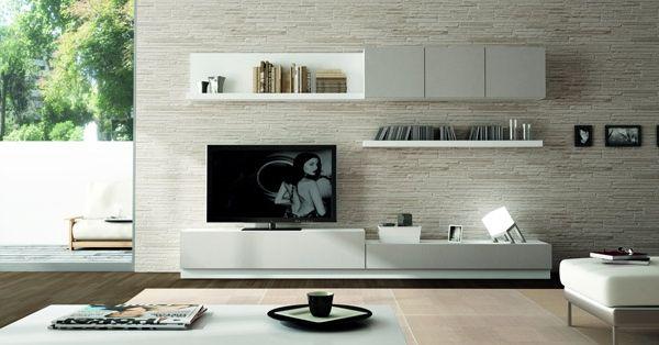 Salones mueble salon acabado en blanco y gris laca ref - Fabrica muebles barcelona ...