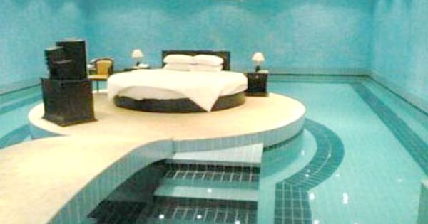 a swimmer's dream room: you could go for a swim before bed