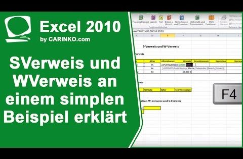 Sverweis Und Wverweis An Einem Simplen Beispiel Erklart Carinko Com Youtube Rechnungswesen Youtube