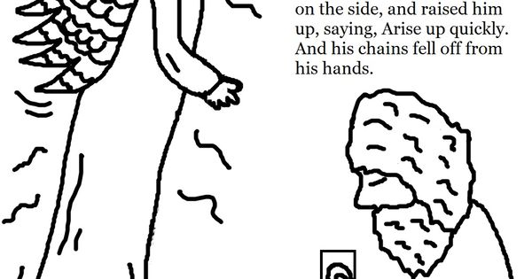 Free coloring pages of peter in jail with the angel of the for Peter and john in jail coloring page