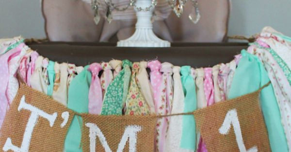 Vintage Shabby Chic First Birthday Fabric and Burlap High Chair Banner on
