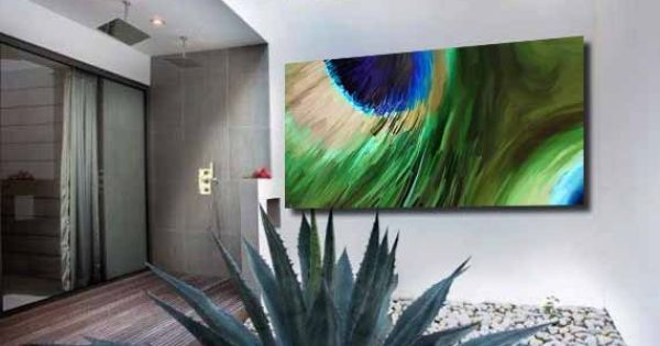 Stretched Canvas Art Peacock Painting Printblue Green