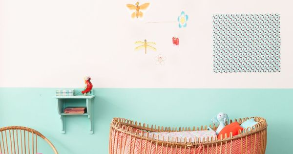 Sweet kid bedroom chambre d 39 enfant lit en rotin couleurs - Tenture chambre bebe ...