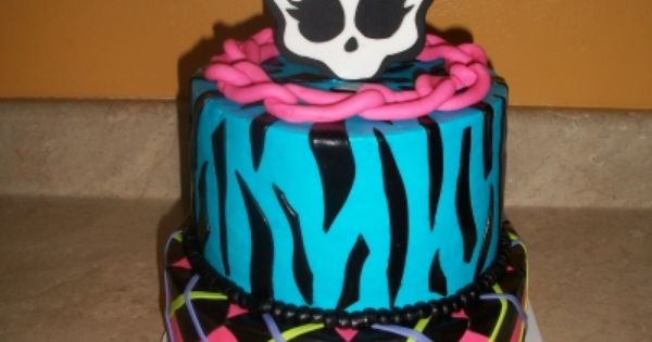 Two tier Monster High birthday cake with skull topper from @C K