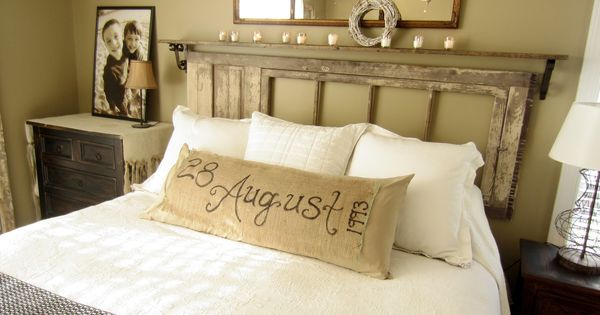 I love this burlap pillow! How cool Down to Earth Style: {Vintage,