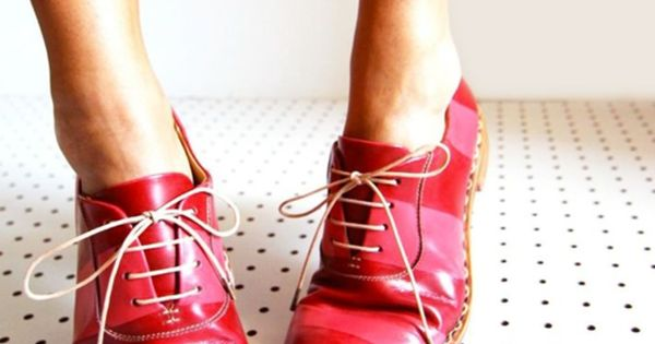 Striped red and pink oxfords from the Office of Angela Scott. Ridiculously