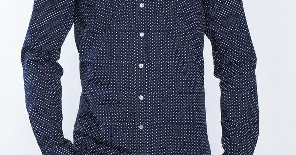 2t slim fit long sleeve tall shirt navy dot extra long for Extra long shirts for tall men