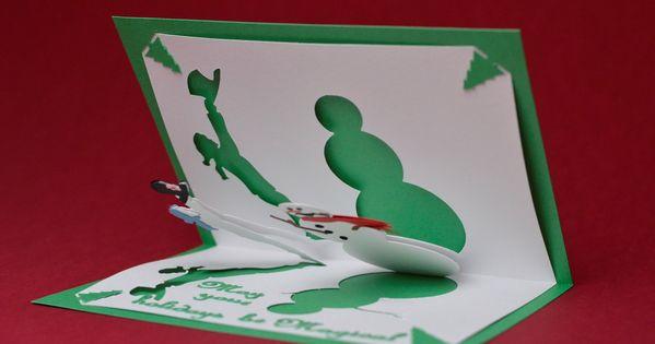 Magical Snowman Pop Up Card Template Creative Pop Up Cards Christmas Card Template Birthday Card Template Free Pop Up Card Templates