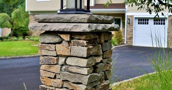 Dry Stone Pillar : Diy dry stack driveway entry column google search