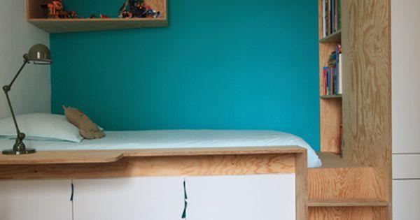 chambre d 39 enfant lit plateforme multifonctions avec rangements une biblioth que et un petit. Black Bedroom Furniture Sets. Home Design Ideas