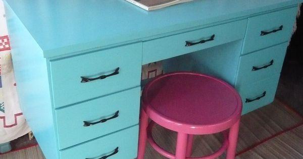 Calypso Retro Desk Vintage Painted Furniture Turquoise