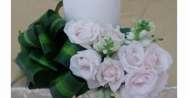 Adorno floral con vela centro de mesa para boda con - Velas de adorno ...