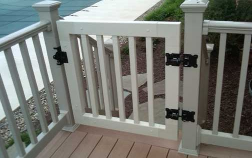deck railings and gates vinyl railing gate kit with steel latch and hinges for the home. Black Bedroom Furniture Sets. Home Design Ideas