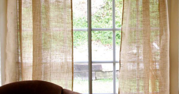 Par de cortinas r sticas playa del panel de cortina de - Cortinas de arpillera ...