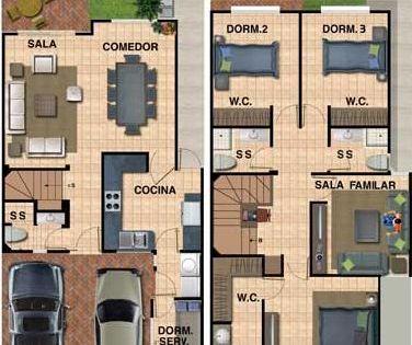 Plano De Casa Para Terreno De 8 X 16 Planos De Casas Casas De Dos Pisos Planos De Casas Modernas