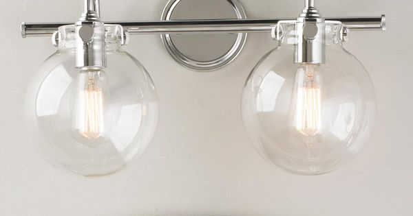 Hampton Bay 2 Light Chrome Bath Light 05659: Retro Glass Globe Bath Light