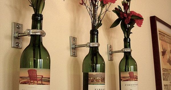Wine bottle vases. Cute idea for Dining room or Kitchen