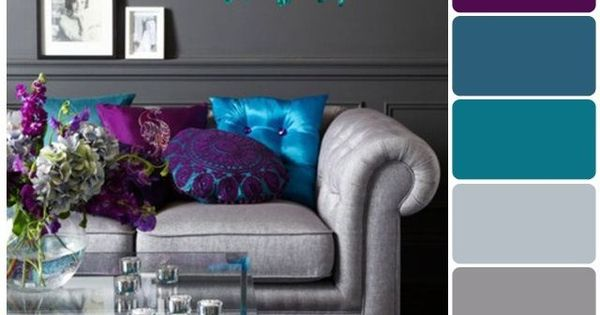 Love the jewel tones ~ purple teal and silver living room.