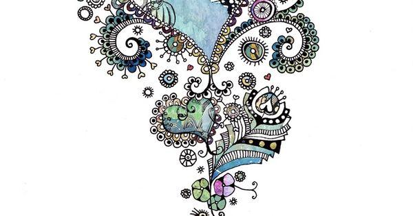 Blue heart tattoo design
