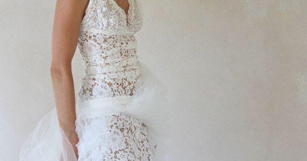 Robe de mariée en dentelle de Calais romantique courte et longue ...
