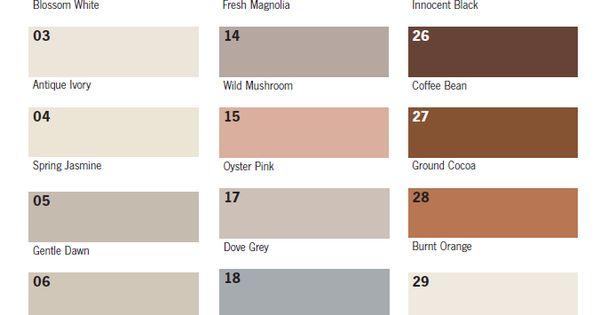 Grout Colour Chart Uk Mosaics Pinterest Grout And