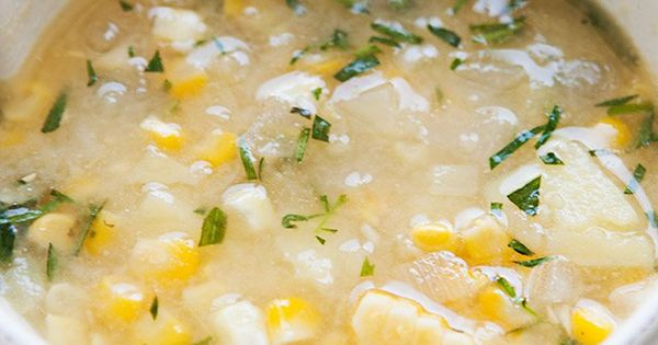 Tarragon Corn Chowder ~ A light corn chowder with fresh corn, yukon ...