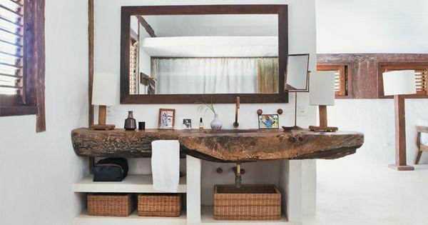 Brazilian Beach House Style// wood vanity, live wood edge, wood sink