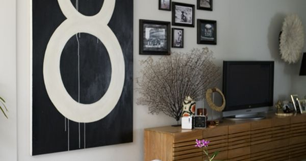 Living room gallery wall. A mix of an oversized art print with