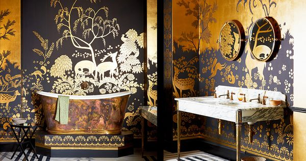 D coration int rieure salle de bain bathroom papier peint chinoiserie noir gold or dor Decoration noir or luxe classe