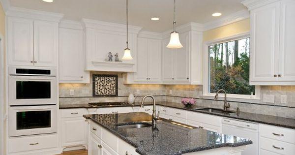 White Kitchen Cabinets Granite Countertop White Kitchen Cabinets With Granite Counter Granite Countertops Kitchen Kitchen Remodel Countertops Granite Kitchen