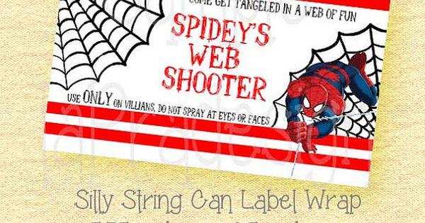Spiderman Birthday Web Shooter Label For Silly String