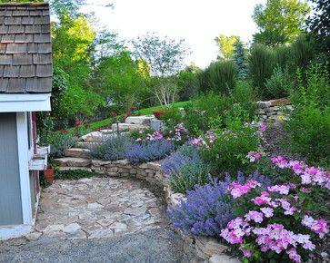 Hillside Terraced Plantings With Stone Steps Denver