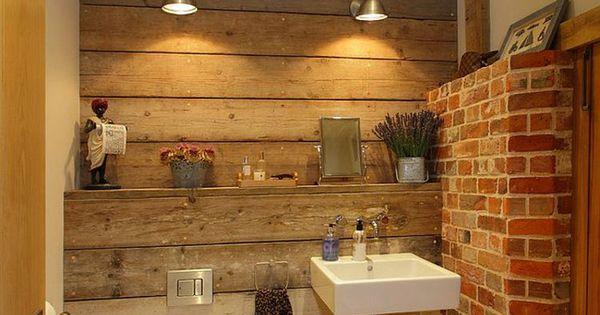 rustikales badezimmer mit deko ziegelwand v ci kter. Black Bedroom Furniture Sets. Home Design Ideas