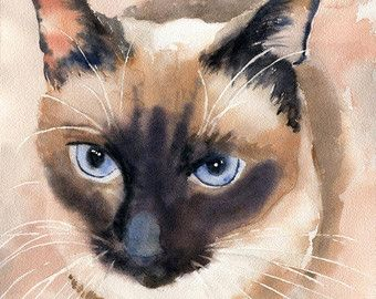 Point De Chocolat Applehead Siamois Cat Art Print De Mon Etsy Cat Art Cat Painting Watercolor Cat