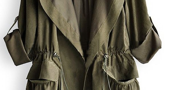 WANT: Amy Green Drape Collar Pockets Long Sleeve Drawstring Outerwear - Sheinside.com