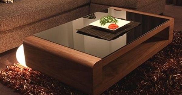 Table Basse Miami Noyer Verre Noir Table Basse Table De Salon Table Basse Tendance