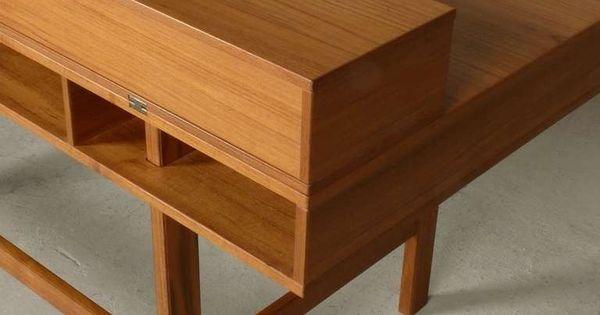 Flip top desk in teak teak modern desk and furniture storage