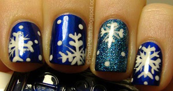 snowflake nails . fun during the holiday season