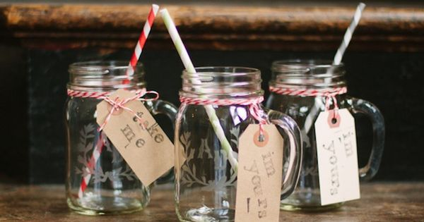Hand etched initial mason jars + stripy straws + bakers twine +