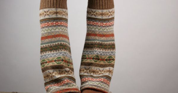 Upcycled Recycled Repurposed Sweater Leg Warmers Fair Isle Knit Brown Orange Camel.